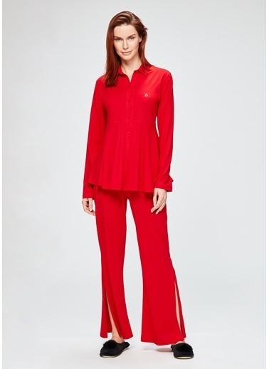 Dagi Gömlek Uzun Kollu Pijama Takımı Kırmızı